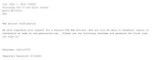 El usuario y contraseña enviados al correo